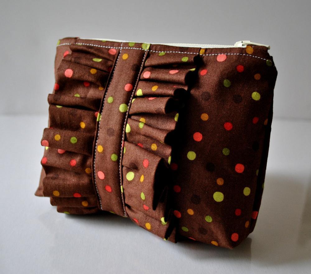 Ruffle Cosmetics make up pouch in brown dotty ruffle UK Handmade