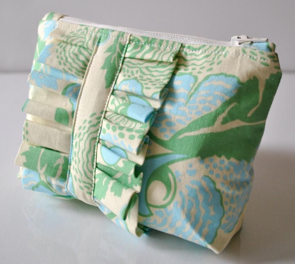 Amy Butler Cosmetics Make Up Bag Ruffle Blue And Green Abstract Fls Uk Handmade