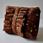 Ruffle Cosmetics make up pouch in b..