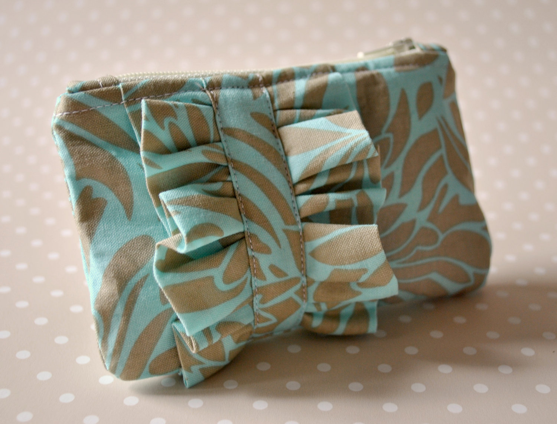 Coin Purse Ruffle Mini Blue And Uk Handmade In Amy Butler Daisy Chain
